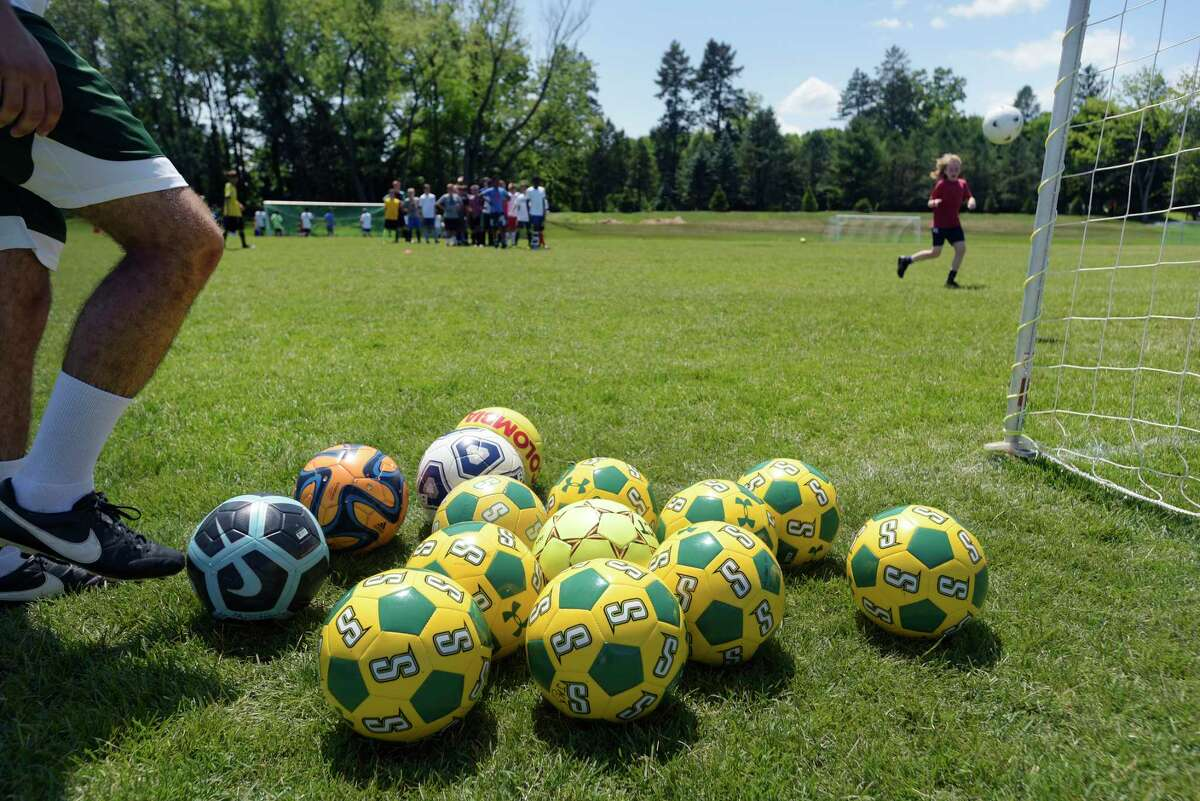Children take part in soccer camp at Siena College on Wednesday, July 11, 2018, in Loudonville, N.Y. The college runs various sports camps through the summer. (Paul Buckowski/Times Union)