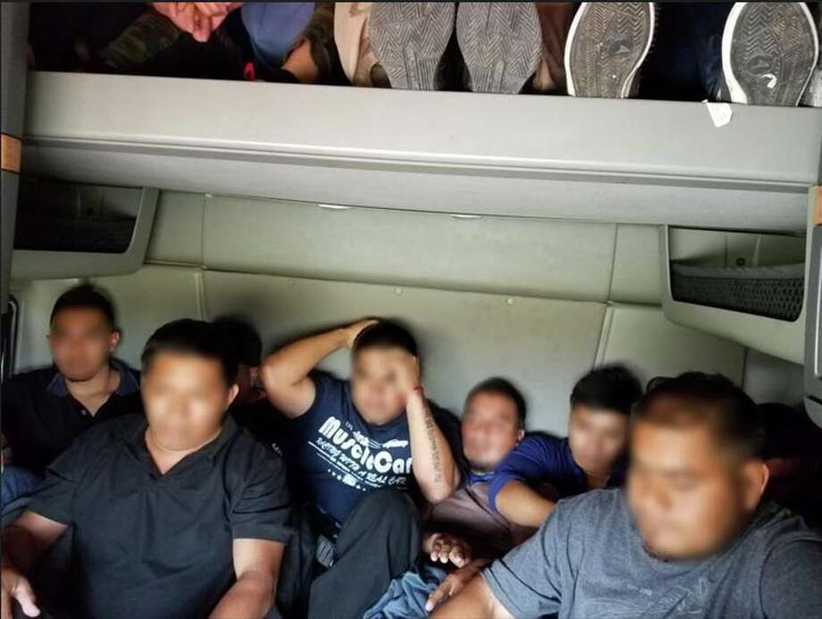 Agents assigned to the checkpoint on Interstate 35 recently discovered 14 undocumented immigrants hidden inside the rear cab of the tractor. Photo: Courtesy Border Patrol