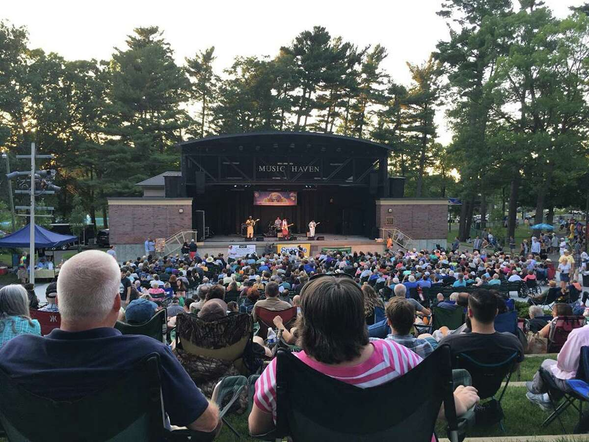 A big crowd enjoys music at the Music Haven at Schenectady's Central Park.
