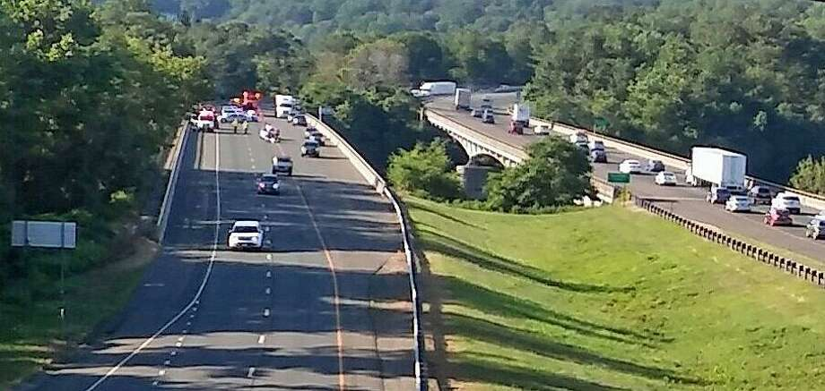A motorcyclist was killed in a crash on eastbound I-84 on the Rochambeau Bridge in Southbury on Thursday, July 12, 2018. The accident that happened shortly after 7 a.m., closed most eastbound lanes during the morning commute. The name of the victim has not been released. Photo: Mark Bresson /Contributed Photo