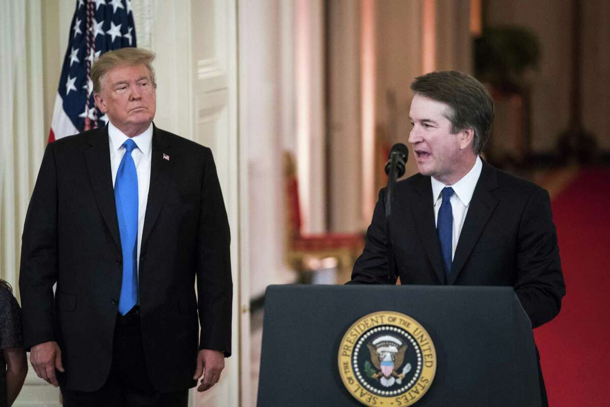 Federal judge Brett M. Kavanaugh, President Trump's nominee for Supreme Court justice, speaks at the White House on July 9. Like five other justices, he is Catholic. The other three are Jewish.