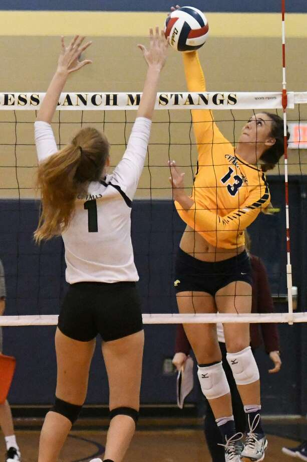 Cypress Ranch's Michelle Klein attempts a kill during district play. Klein was selected as an outside hitter honorable mention in the Texas Sports Writers Association 2018 All-State volleyball teams. Photo: Cy-Fair ISD / Cy-Fair ISD