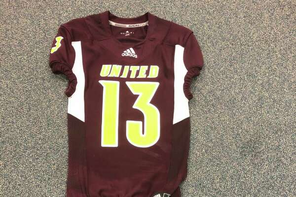 The maroon jersey for Beaumont United for the 2018 football season.