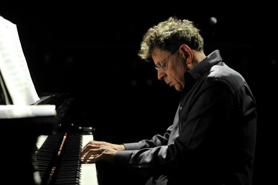 Composer- pianist Philip Glass played as part of a program at SFJazz devoted to his many short intimate chamber pieces. Glass was joined by cellist Matt Haimovitz and harpist Lavinia Meijer as the trio toured the com poser's vast catalog of works. Photo: Fernando Aceves