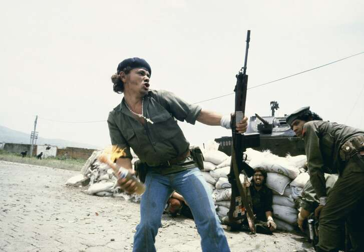 """Molotov Man"" shows Sandinistas outside the Estelí National Guard headquarters in Nicaragua in 1979."