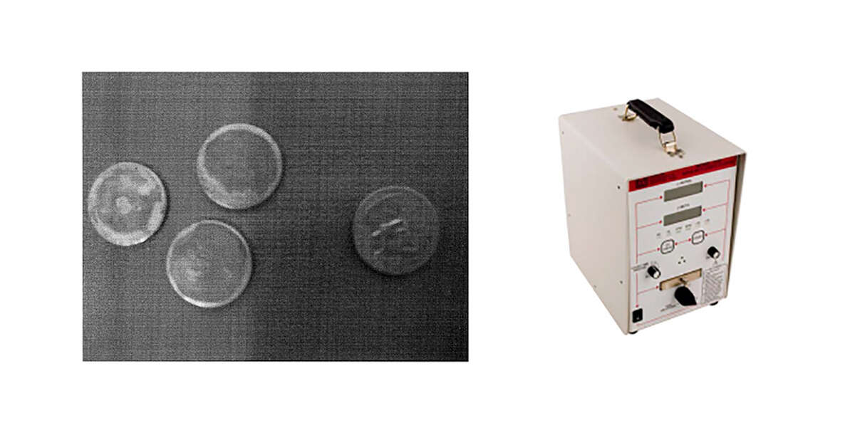 The image on the left deptics plutonium samples, comparable in size to one that's been missing from Idaho State University for at least 14 years, beside a U.S. quarter. On the right, a Ludlum 3030 radiation meter like the one shown here was stolen from Idaho National Laboratory employees along with other detectors and samples of plutonium and cesium in March 2017.