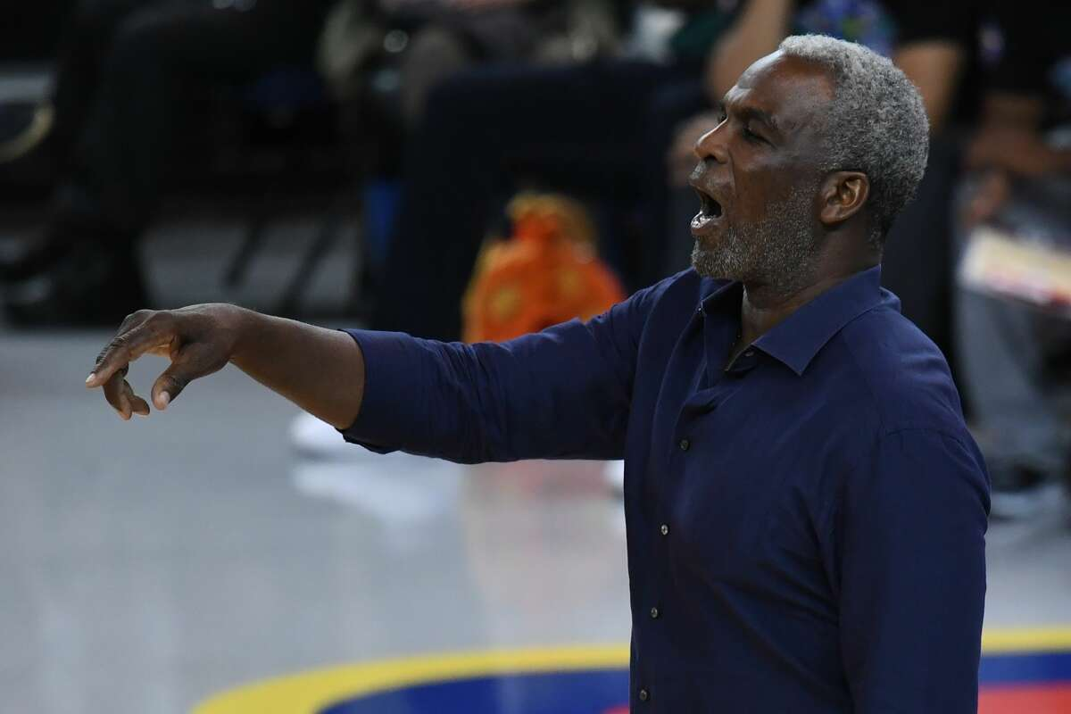 OAKLAND, CA - JULY 06: Head coach Charles Oakley of Killer 3s looks on during week three of the BIG3 three on three basketball league game at ORACLE Arena on July 6, 2018 in Oakland, California. (Photo by Thearon W. Henderson/BIG3/Getty Images)