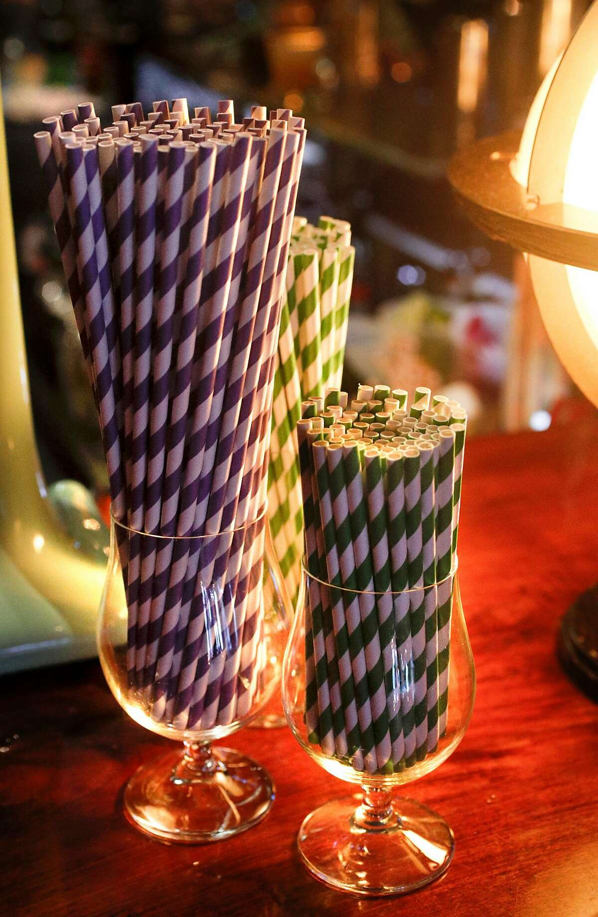 Colorful paper straws at the Pagan Idol restaurant in San Francisco, Calif. There's a movement afoot to get rid of plastic straws, including a statewide California bill and San Francisco legislation to ban plastic straws at dine-in restaurants unless a customer asks for one.