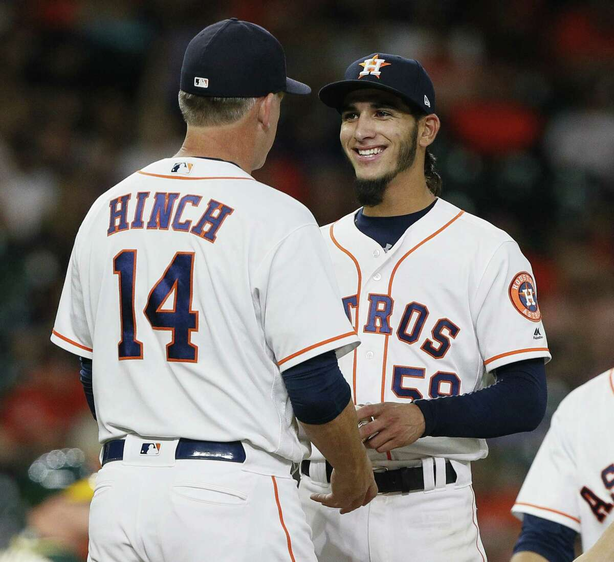 PHOTOS: A joyous Cionel Perez in his major league debut Manager AJ Hinch of the Houston Astros takes the ball from Cionel Perez in the ninth inning at Minute Maid Park on July 11, 2018 in Houston. Browse through the photos above for a look at the sheer joy on the face of Cionel Perez during his major league debut.