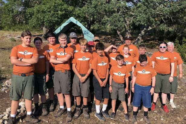 Left to right are Marshall Wells, Texas Brown, Adam King, Sammy Wells, Troy  Griffin, George Gonzales, Regan King,  Draven Guidry, Andrew  Guidry, Lance Martin, Marcus Hamilton, Wint Seal, Paul Newton, Joshua Koons, Sheridon  Graves, Seth Blankenship and Robert Balfour with Troop 8.