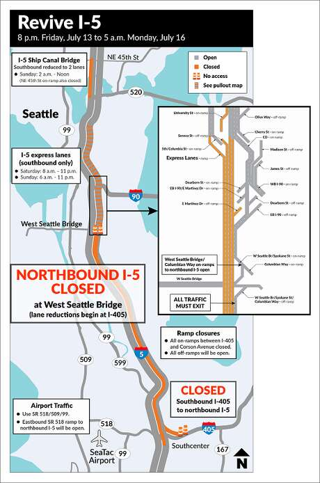 "The state Department of Transportation's ""Revive I-5"" project will close the freeway from the West Seattle Bridge interchange to Olive Way. Photo: WSDOT"