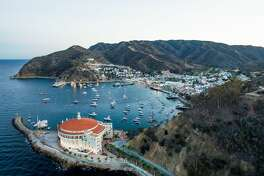 A unique look at the Catalina's Avalon harbor and it's famous landmark, the Casino.
