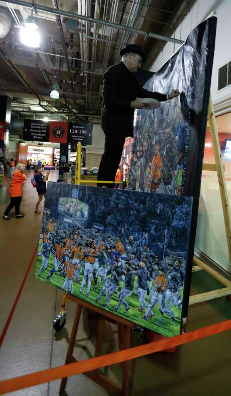 Opie Otterstad called his latest World Series painting extra special because of his longtime ties to the Astros. Photo: Karen Warren, Houston Chronicle / © 2018 Houston Chronicle