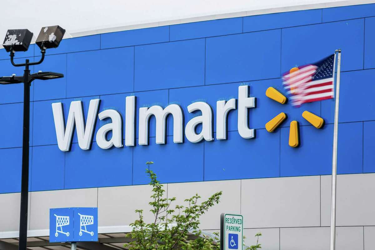 An American flag flies outside of a Walmart store in Secaucus, N.J. on May 16, 2018.
