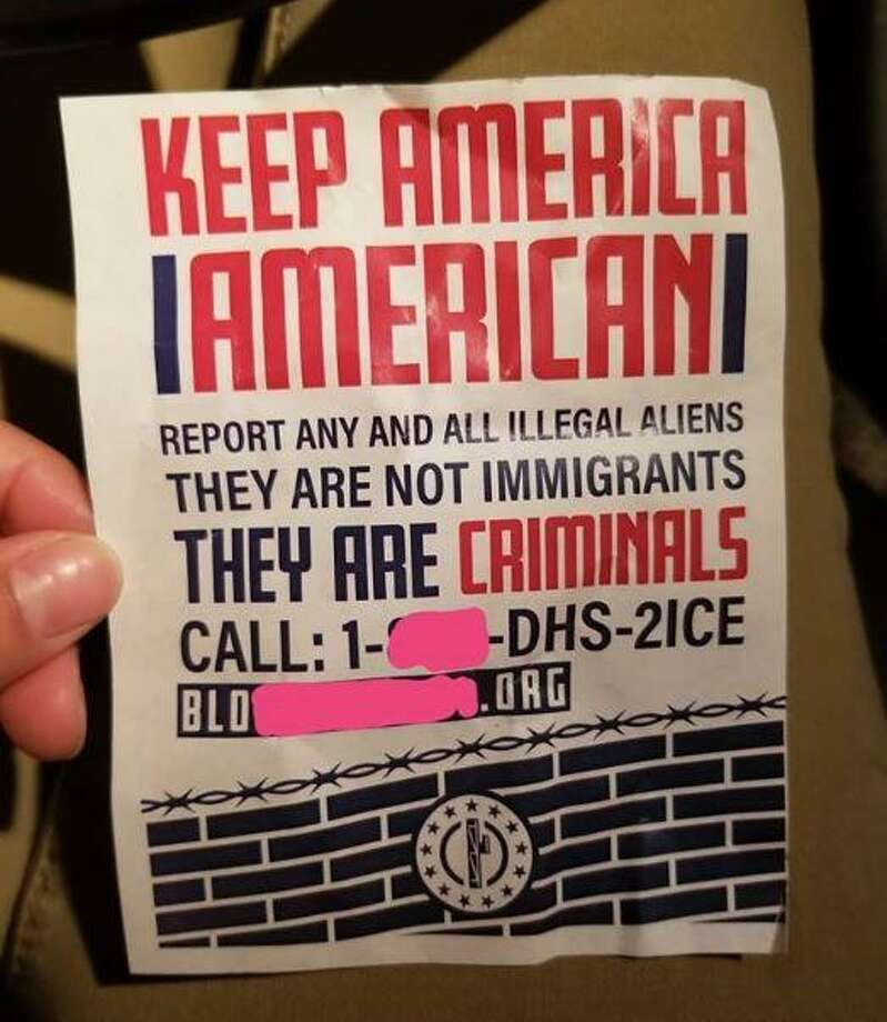 A flyer from an neo-Nazi group was placed in the driveway of a San Antonio resident July 4, 2018. The flyers have previously appeared in San Antonio and other parts of Texas. (Courtesy of Viviana Weigand) Photo: Courtesy Of Viviana Weigand