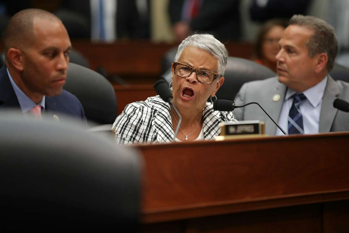 House Oversight and Government Reform Committee member Rep. Bonnie Watson Coleman (D-NJ) shouts at Chairman Trey Gowdy (R-SC) during a joint hearing of thier committee and the House Judiciary Committee in the Rayburn House Office Building on Capitol Hill July 12, 2018 in Washington, DC. Deputy Assistant FBI Director Peter Strzok testified before a joint committee hearing of the House Judiciary and Oversight and Government Reform committees. While involved in the probe into Hillary ClintonÃ?•s use of a private email server in 2016, Strzok exchanged text messages with FBI attorney Lisa Page that were critical of Trump. After learning about the messages, Mueller removed Strzok from his investigation into whether the Trump campaign colluded with Russia to win the 2016 presidential election. (Photo by Chip Somodevilla/Getty Images)