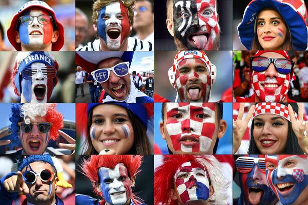 (COMBO) This combination of photographs released on July 12, 2018 shows supporters from France (L) and Croatia cheering on their teams during the Russia 2018 World Cup football tournament. France will play Croatia in the Russia 2018 World Cup final football match at the Luzhniki Stadium in Moscow on July 15, 2018. / AFP PHOTO / - / RESTRICTED TO EDITORIAL USE - NO MOBILE PUSH ALERTS/DOWNLOADS -/AFP/Getty Images