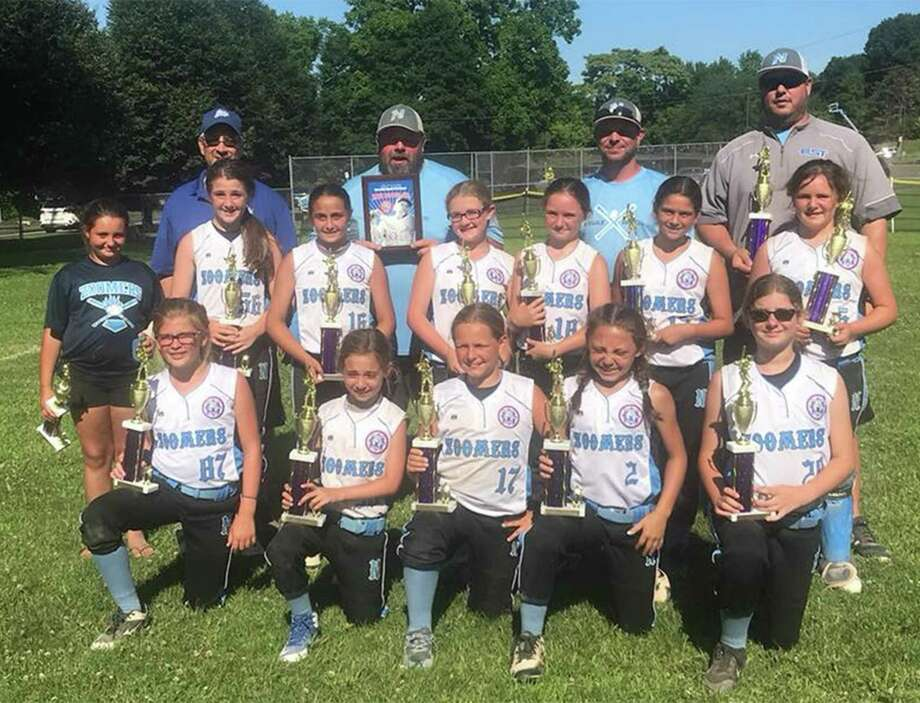 The Norwalk Zoomers 10-year-old All-Stars finished second in their recent Babe Ruth Softball state tournament. Team members include, from left, front row: Rylee Donohue, Kailey Forger, Madison O'Brien, Madelyn Yusi and Alexa Lacomis; middle row, Sami Horton, Madison Collins, Avery Vaccaro, Kate Putterman, Emily Restaino and Madison Cebrian; back row, coaches Neil Putterman, Shawn Collins, Matt O'Brien and Rit Lacomis. Photo: Contributed Photo
