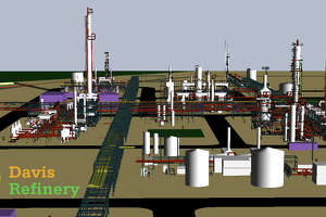 A computer rendering of the Davis Refinery that Meridian Energy Group plans to build in Billings County, North Dakota. The California-based company plans to make the refinery the cleanest and safest in the nation.