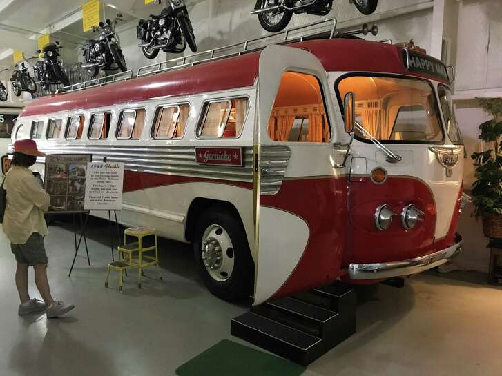 """One of the most popular RVs on display at the museum in Amarillo is the one driven by Robin Williams in the 2006 film """"RV,"""" a 1948 Flxible used for 40 years by a high school band in North Carolina that is still a popular attraction for former members."""