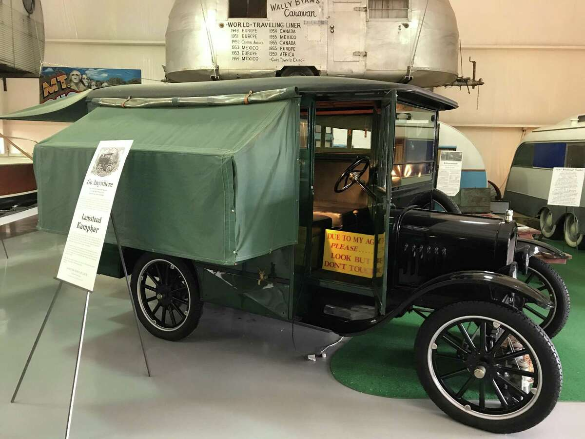 One of the world's first motorhomes that helped spur the RV craze shortly after automobiles were introduced is this Lampsteed Kampkar, which was mounted on a Ford Model T chassis and offered seating for six and fold-out sleeping compartments.