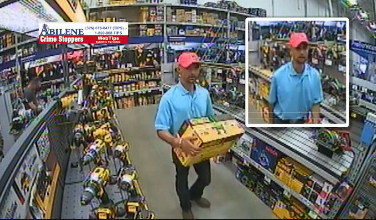 The Abilene Police Department is looking for this man after video shows him allegedly leaving a hardware store without paying for his items.