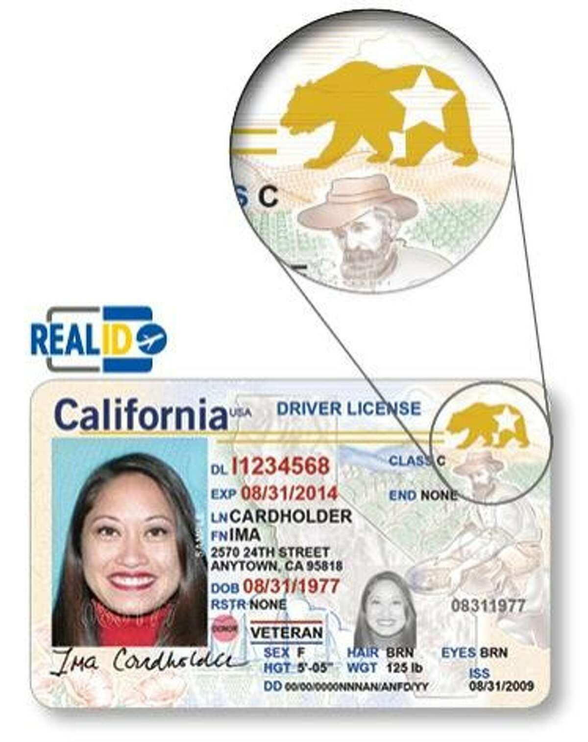 Sample California driver license that meets federal requirements to be a