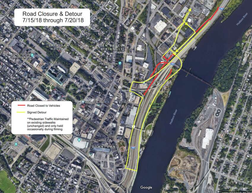 Road closures and detours for a TV show shoot July 15 to 20, 2018, in Albany.