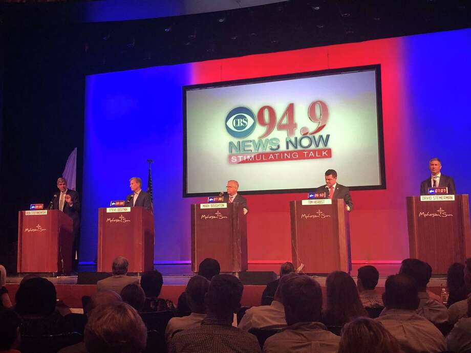 All five Republicans on the Aug. 14 primary ballot debated for the first time at Mohegan Sun Thursday evening in a debate sponsored by CBS Radio 94.9. From left they are Bob Stefanowski, Steve Obsitnik, Mark Boughton, Tim Herbst and David Stemerman. Photo: Kaitlyn Krasselt /