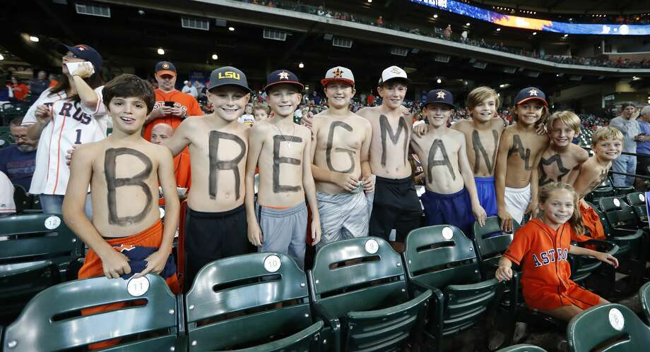 Fans of Houston Astros Alex Bregman in the stands before the start of an MLB game at Minute Maid Park, Thursday, July 12, 2018, in Houston. ( Karen Warren  / Houston Chronicle ) Photo: Karen Warren/Houston Chronicle