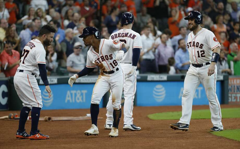 Houston Astros Tony Kemp (18) celebrates with Jose Altuve after Kemp's two-run home run during the fourth inning of an MLB game at Minute Maid Park, Thursday, July 12, 2018, in Houston. ( Karen Warren  / Houston Chronicle ) Photo: Karen Warren/Houston Chronicle