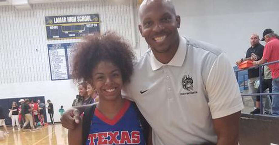 Courtesy photo of incoming senior PG Tatiyanna Riley and Hastings coach Corey Brotheton at the all-star game Wednesday at Arlington Lamar. Photo: Courtesy Photo