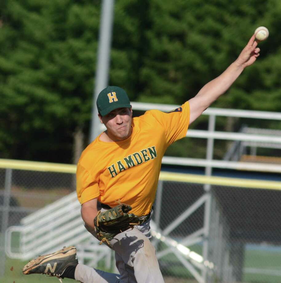 Hamden American Legion pitcher Anthony Sitro delivers against East Haven on Thursday. Photo: Dave Phillips / For Hearst Connecticut Media