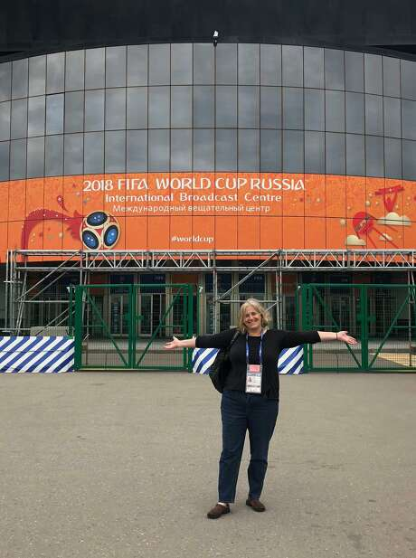 From Dash analyst to World Cup, Jen Cooper has come a long way to stand in front of Moscow's International Broadcast Center. Photo: Photo Courtesy Of Jen Cooper / Photo Courtesy Of Jen Cooper / Photo courtesy of Jen Cooper