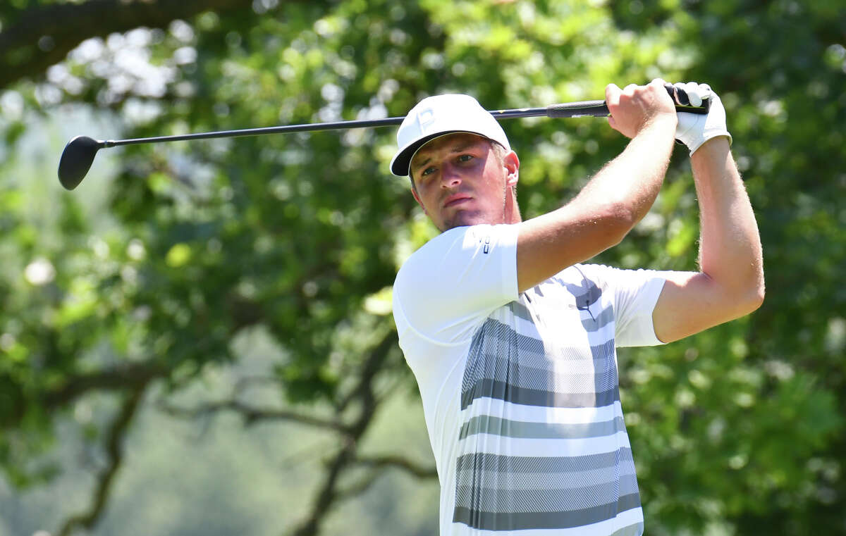 Bryson DeChambeau tees off on the fifth hole during the pro-am for the John Deere Classic golf tournament Wednesday, July 11, 2018, in Silvis, Ill. (Todd Mizener/QCOnline.com via AP)