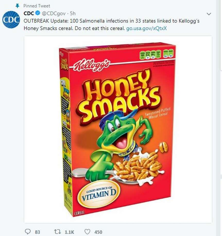 @CDCgov   OUTBREAK Update: 100 Salmonella infections in 33 states linked to Kellogg's Honey Smacks cereal. Do not eat this cereal. https://go.usa.gov/xQtxX Photo: Twitter