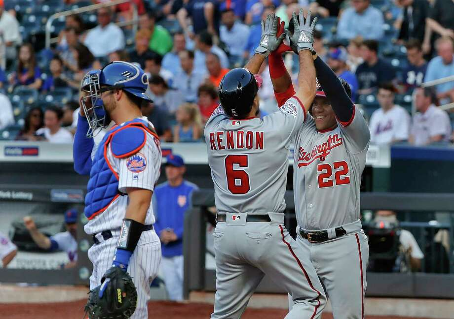 Washington Nationals' Anthony Rendon (6) is congratulated by Juan Soto after hitting a two-run home run against the New York Mets during the first inning of a baseball game Thursday, July 12, 2018, in New York.(AP Photo/Julie Jacobson) Photo: Julie Jacobson / Copyright 2018. The Associated Press. All Rights Reserved.