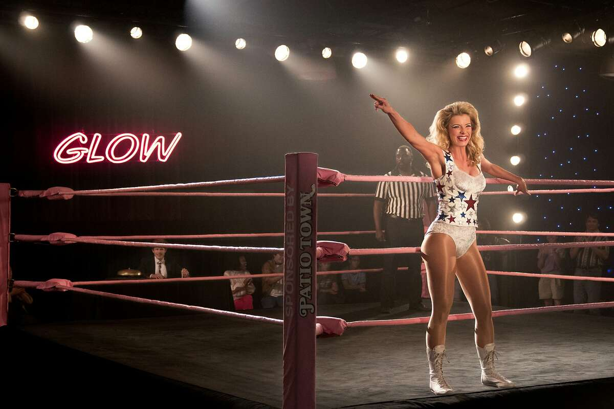 """14. GLOW Netflix The second season of """"GLOW,"""" a scripted comedy about the Gorgeous Ladies of Wrestling TV show of the 1980s, represents what's great about television in 2018. Its strength is its diverse cast, who explore race and sexuality in thoughtful - not gimmicky - ways. The joy of the second season lies in the small moments: a drunken yard sale after a rocky divorce, a car ride with a beloved son who's growing up, a trip to the emergency room with all your best friends."""
