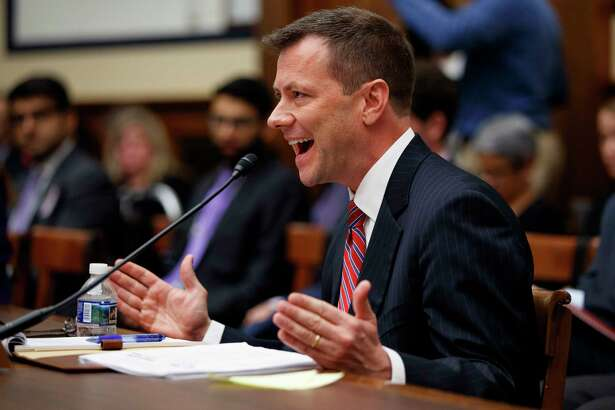 """FBI Deputy Assistant Director Peter Strzok, testifies before a House Judiciary Committee joint hearing on """"oversight of FBI and Department of Justice actions surrounding the 2016 election"""" on Capitol Hill in Washington, Thursday, July 12, 2018. (AP Photo/Evan Vucci)"""