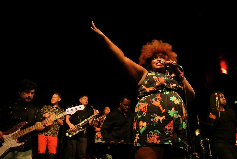 """Kam Franklin leads The Suffers during their hometown album release show at The Heights Theater, Thursday, July 12, 2018. Their day was July 13. Click the gallery to other people honored with """"days"""" this year in Houston. Photo: Mark Mulligan, Houston Chronicle / © 2018 Houston Chronicle"""