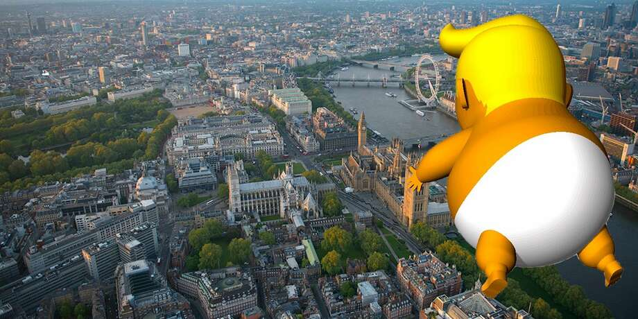 "London mayor Sadiq Khan permitted a 20-foot-tall angry ""Trump Baby"" blimp depicting President Donald Trump.