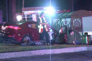 The driver crashed into the bus stop in the 10600 block of Perrin Beitel just before 3 a.m. July 13, 2018, and clipped the victim in the crash.