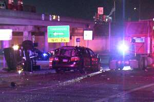 The crash began when the driver of the pickup truck rear ended a silver sedan around 1:50 a.m. on a Loop 410 access road near Culebra Road.