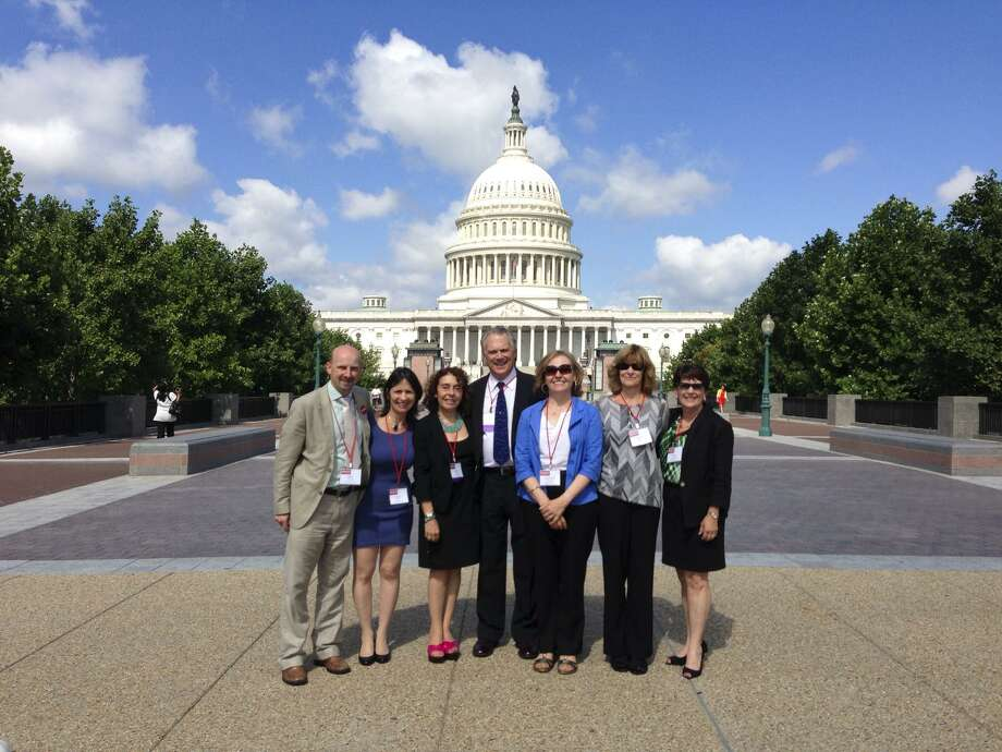 From left, Mark Pointer (of the UK chapter of Results), Sandra Eagle, Lucinda Winslow, William Baker, Ann Marie Pointer(Results UK), Phyllis Behlen and Nancy Gardiner in Washington, D.C., in 2013. Photo: Contributed Photo / Connecticut Post Contributed