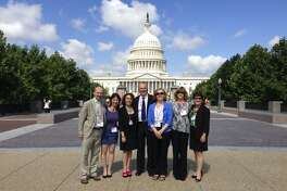 From left, Mark Pointer (of the UK chapter of Results), Sandra Eagle, Lucinda Winslow, William Baker, Ann Marie Pointer(Results UK), Phyllis Behlen and Nancy Gardiner in Washington, D.C., in 2013.