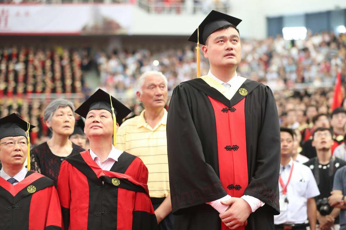 PHOTOS: A look at Yao Ming's college graduation SHANGHAI, CHINA - JULY 08: Former NBA player Yao Ming attends the 2018 undergraduate graduation ceremony of Shanghai Jiao Tong University on July 8, 2018 in Shanghai, China. (Photo by Zhang Hengwei/China News Service/VCG)