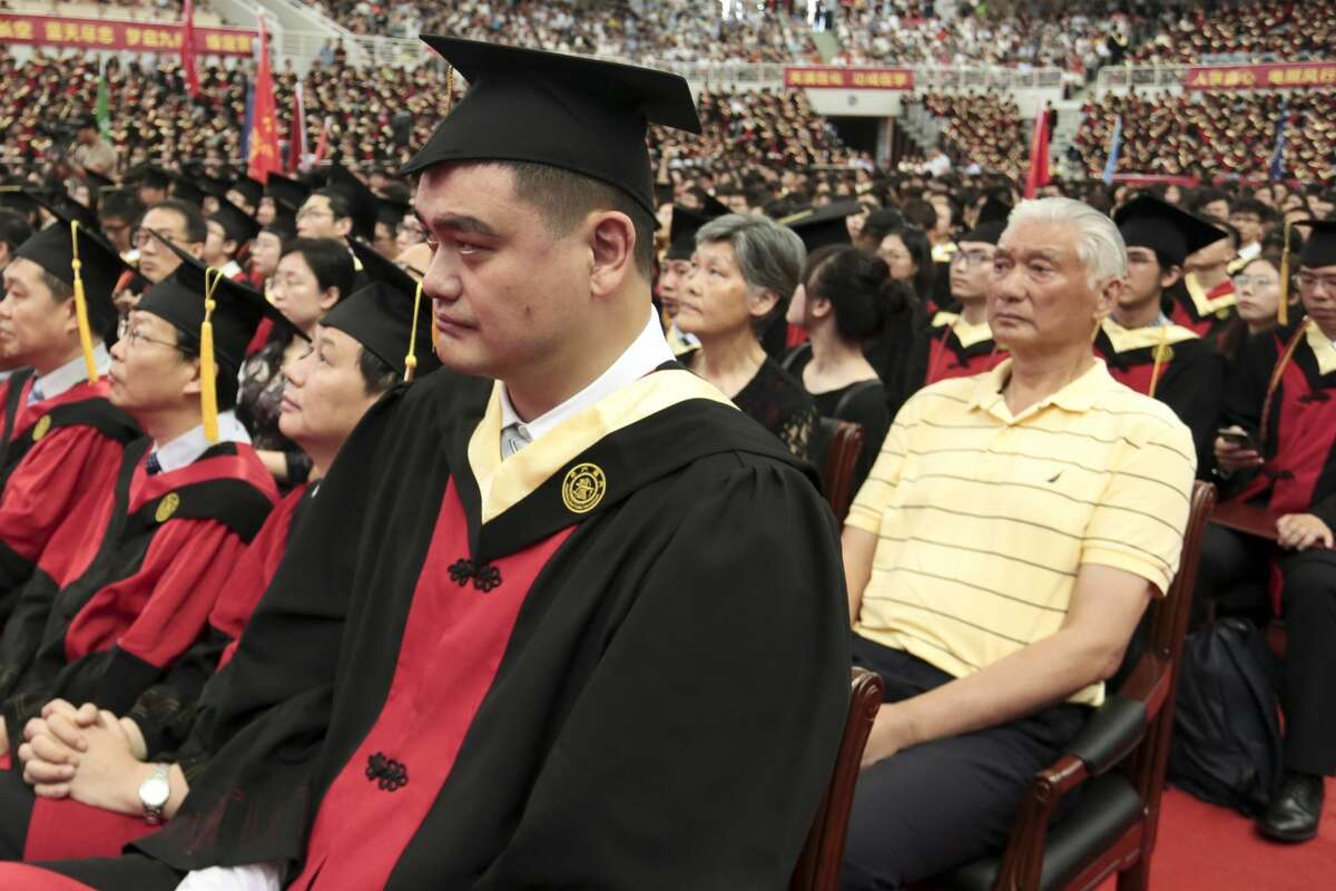 SHANGHAI, CHINA - JULY 08: Former NBA player Yao Ming attends the 2018 undergraduate graduation ceremony of Shanghai Jiao Tong University on July 8, 2018 in Shanghai, China. (Photo by Zhang Haohao/VCG)