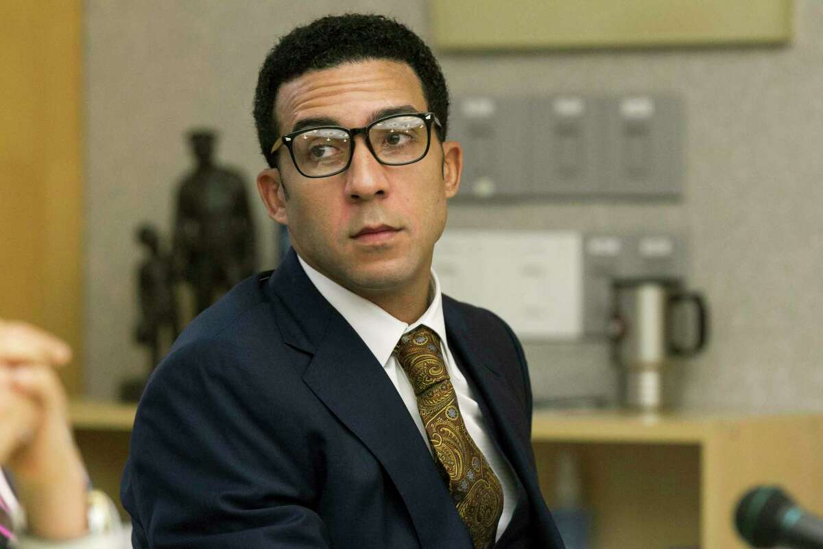 Former NFL player Kellen Winslow Jr. attends a preliminary hearing, Wednesday, July 11, 2018, in San Diego, Calif. Winslow is accused of two counts of kidnapping and rape, exposing himself to another person and entering the homes of two others with the intent to rape them. (John Gibbins/The San Diego Union-Tribune via AP)