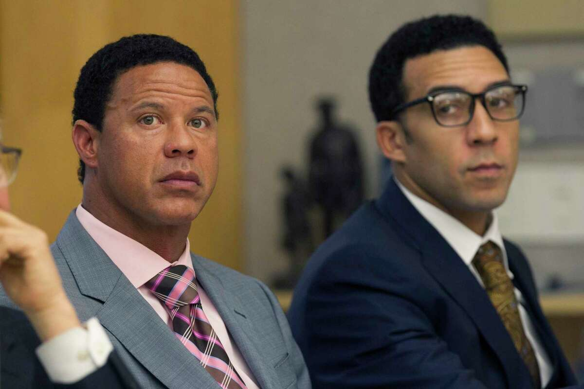 Attorney Brian Watkins, left, attends a preliminary hearing for his client former NFL player Kellen Winslow Jr,. right, Wednesday, July 11, 2018, in San Diego, Calif. Winslow is accused of two counts of kidnapping and rape, exposing himself to another person and entering the homes of two others with the intent to rape them. (John Gibbins/The San Diego Union-Tribune via AP)