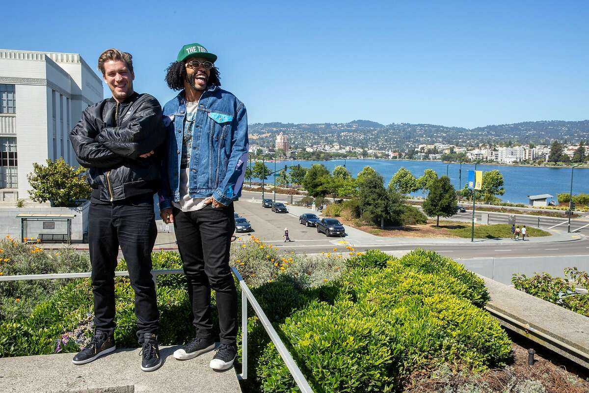 From left: Rafael Casal and Daveed Diggs stand for a portrait at the Oakland Museum, Thursday, June 21, 2018, in Oakland, Calif. Casal and Diggs co-wrote and star in the movie Blindspotting.